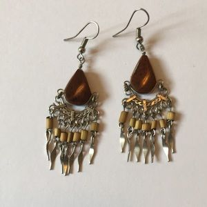 Jewelry - 🌿3/$15🌿 Earrings, Silver w/ Brown Stones